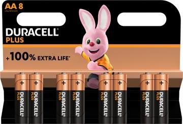 Duracell batterij Plus 100% AA, blister van 8 stuks