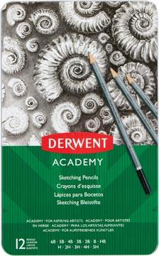 Derwent grafietpotlood Academy, blik van 12 stuks: 6B-5B-4B-3B-2B-B-HB-H-2H-3H-4H-5H