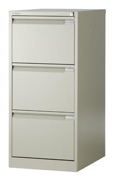 Bisley hangmappenkast, ft 101,6 x 47 x 62,2 cm (h x b x d), 3 laden, grijs