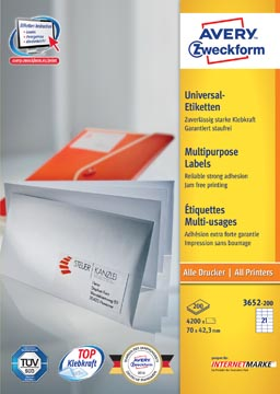 Avery Zweckform 3652, Universele etiketten, Ultragrip, wit, 200 vel, 21 per vel, 70 x 42,3 mm