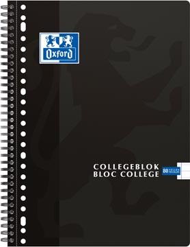 Oxford School collegeblok, ft A4+, 160 bladzijden, 23 gaatjes, kantlijn, gelijnd, zwart