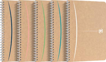 Oxford Touareg spiraalschrift, 180 bladzijden, ft A5, geruit 5 mm, geassorteerde kleuren