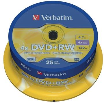 Verbatim DVD rewritable DVD+RW, spindel van 25 stuks