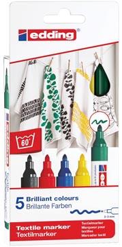 Edding textielstift 4500, set van 5 stuks in geassorteerde basiskleuren
