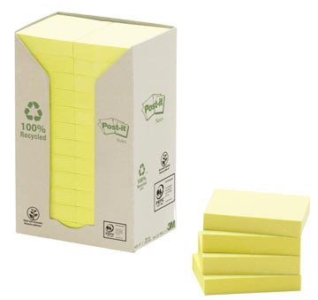 Post-it Notes gerecycleerd, ft 38 x 51 mm, geel, 100 vel, pak van 24 blokken