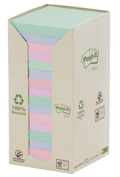 Post-it Notes gerecycleerd, ft 76 x 76 mm, geassorteerde kleuren, 100 vel, pak van 16 blokken
