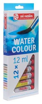 Talens Art Creation aquarelverf tube van 12 ml, set van 12 tubes in geassorteerde kleuren