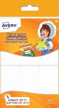 Avery Family diepvriesetiketten, ft 6,5 x 3,3 cm, wit, ophangbare etui met 24 etiketten