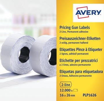 Avery PLP1626 etiketten voor prijstang permanent, ft 26 x 16 mm, 12 000 etiketten, wit