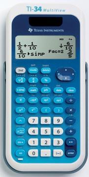 Texas wetenschappelijke rekenmachine TI-34 Multiview, verpakking in Duits, Frans, Engels en Portugees